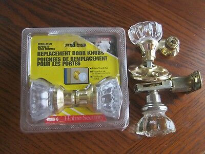 Glass Door Knobs/+Replacement Knobs With Brass Finish Base Vintage Style