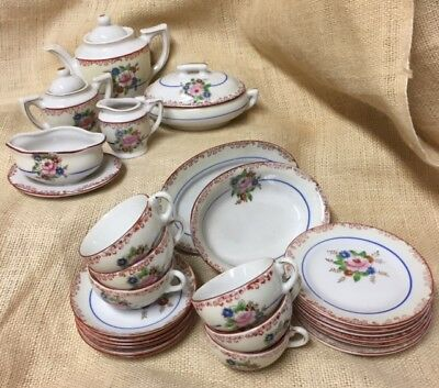 Vintage Little Hostess Sears & Roebuck Playtime Dishes China Tea Set Complete 28