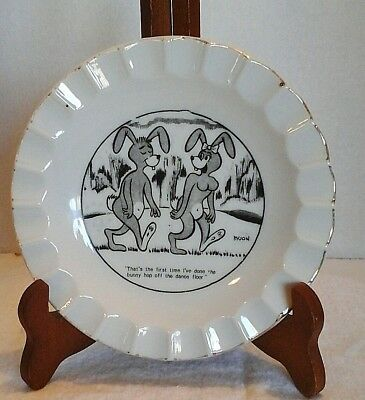 Vintage Bunny Funny Plate Bowl Ashtray The Bunny Hop China Gold Trim