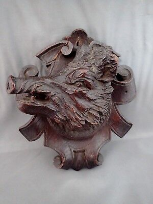 Vintage Antique Black Forest Hand Carved Wood Wooden Boar Head Wall Plaque