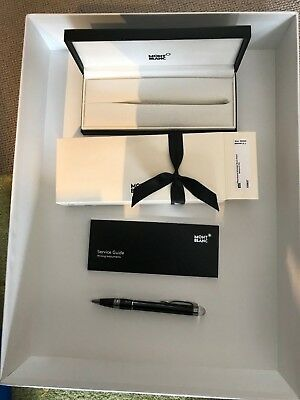 Mont Blanc Starwalker Midnight Platinum Plated Resin Ballpoint Pen New 105657 Bn