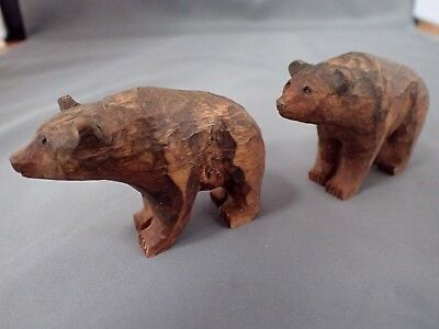2 Hand Carved Wood Wooden Bears Signed Fin Finland