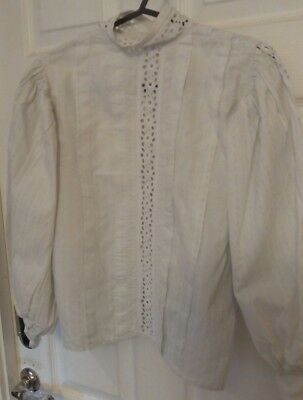 Victorian girls white high neck blouse size 4 6  MUSEUM age 12 14