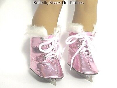Ice Skates Pink Metallic 18 in Doll Clothes Accessory Fits American Girl