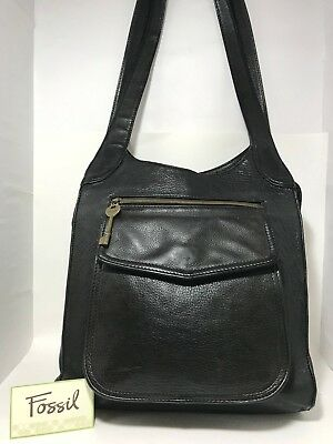 f073f872f6 FOSSIL Extra Large Black Leather Hobo Shoulder Handbag Womens Bag Purse Tote