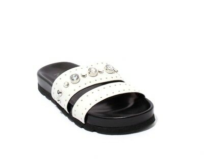 12d1d9cb054 MALLY 6135 SPARKLY Silver Leather Studded Slides Heel Sandals 41 ...