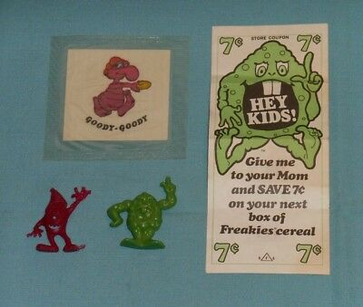 vintage FREAKIES cereal COUPON & PREMIUM LOT plastic figures and sticker