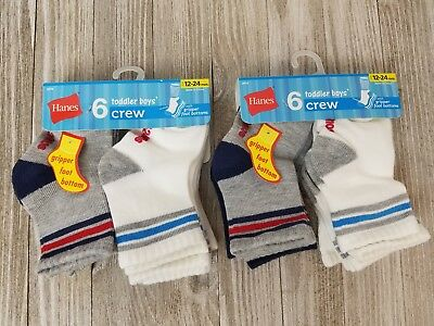 Baby Boy 12 Pairs of Hanes Crew Socks Size 12-24 Months New Free Shipping
