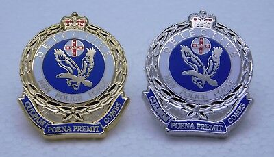 NSW Police Force Detective Silver & Gold 3.0cm high Lapel Pins (Not Official)
