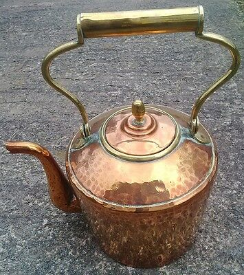 "Genuine Large 12"" Antique Hammered Copper Range Kettle with Pivot Handle (Lot C)"