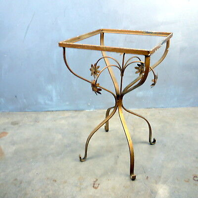VTG Gold Gilt Metal HOLLYWOOD REGENCY Tole Leaf Base Side End Table NO Glass
