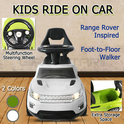 Land Rover Inspired Kids Ride On Toy Car-Push Foot To Floor Baby Toddler Walker