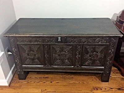 Charles II Carved Oak Coffer or Chest -- c.1675 -- FREE Local Delivery