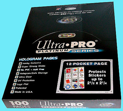 100 ULTRA PRO PLATINUM 12 POCKET Pages 2.5x2.25 Sheets Protectors Stickers Cards