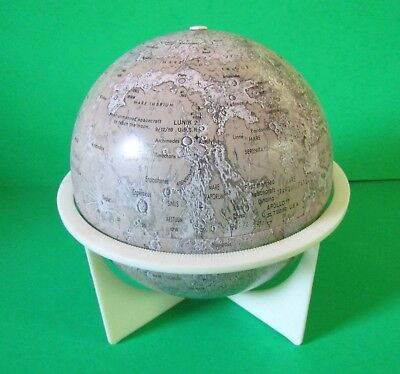 "Vintage Moon 6"" Tin Litho Globe with Stand by Replogle"
