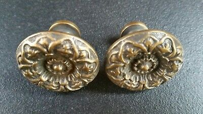 "2 Antique Vict. Style Solid Brass ROUND KNOBS Ornate FLORAL 1-1/4"" dia. #K25"
