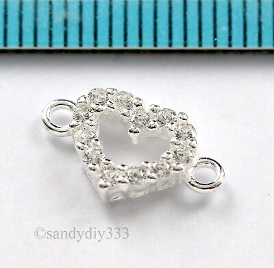 1x BRIGHT STERLING SILVER CZ CRYSTAL HEART LINK CONNECTOR BEAD 7.6mm #2919