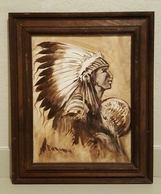 Native American Indian Warrior Oil Painting On Canvas Signed