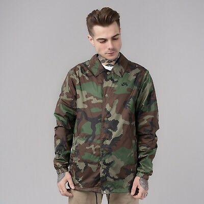 Details about Nike SB Shield Coaches Skateboarding Jacket Men´s AH5505 222 CAMO OLIVE