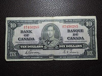 1937 $10 Dollar Bank of Canada Banknote X/D 7450285 Gordon Towers F-VF Grade