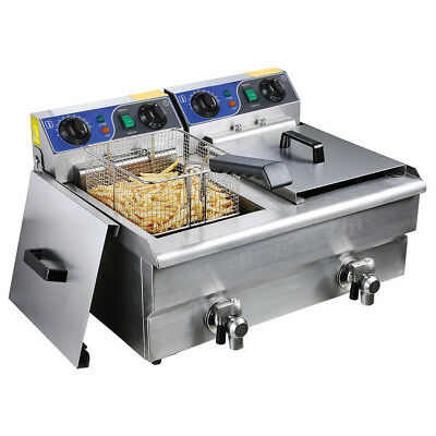 20L Stainless Steel Electric Deep Fryer Frying Countertop Basket Chip Cooker AU