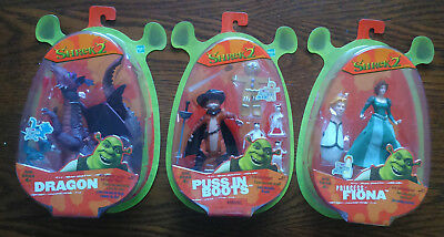 RARE Hasbro Shrek 2 DRAGON-PRINCESS FIONA-PUSS IN BOOTS Action Figures Set of 3