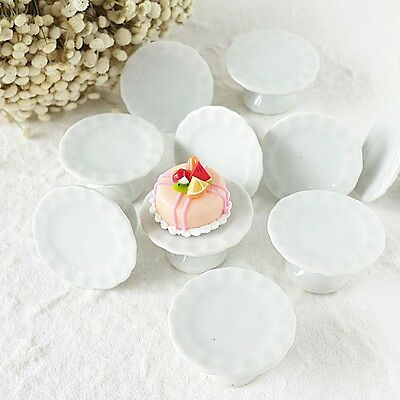 50 White Ceramic Cake Stand Bakery Dollhouse Miniature Food Supply Wholesale Lot