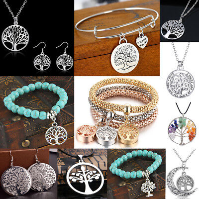 Tree Of Life Charm Silver Chain Women Necklace Earrings Bracelets Wedding Gifts