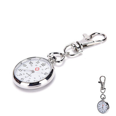 Stainless Steel Quartz Pocket Watch Cute Key Ring Chain GiftW9G