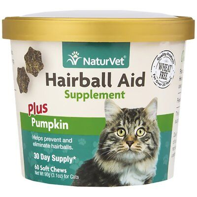 NaturVet Cat Hairball Aid Supplements Plus Pumpkin Soft Chew 60 count