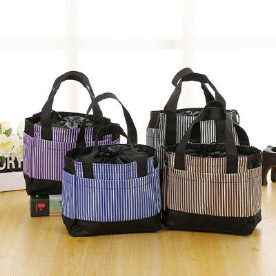 Adult Kids Stripe Lunch Bags Insulated Portable Tote Picnic Bag School Lunchbox
