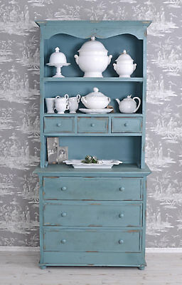 Sideboard country style buffet kitchen wood cupboard cabinet with drawers blue