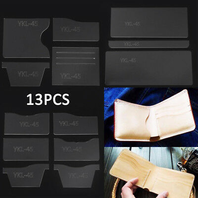 13Pcs Clear Acrylic Wallet Pattern Stencil Template Set Leather Craft DIY Tool