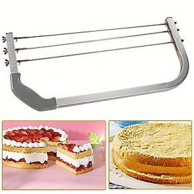 3 Adjustable Blade Large Cake Interlayer Cutter Leveller Slicer Heavy Duty UK