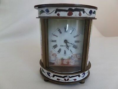 Small French Brass Carriage Clock Painted Panels Needs Some Tlc