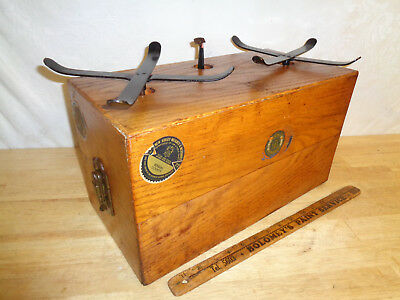 Vintage Cast Iron Detecto No 2 Scale - Oak Box NYC NY - NJW&M Stickers - Works -