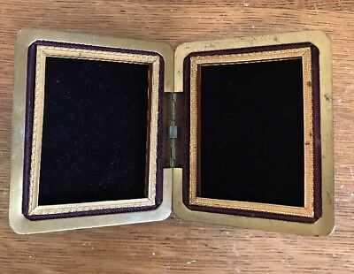 """Vintage gold brass metal bi-fold hinged embossed double picture frame 2.5 x 3.5"""""""
