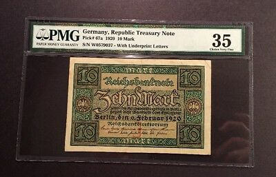 PMG Graded Germany, Republic Treasury Note 10 Mark German Banknote 1920 Pic67a