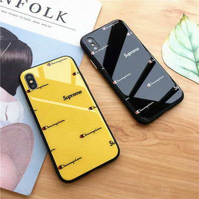 new concept 15139 33db2 CHAMPION POPUP GLASS Glossy Cute Hard Case For iPhone X XR XS Max 6 6s 7 8  Plus