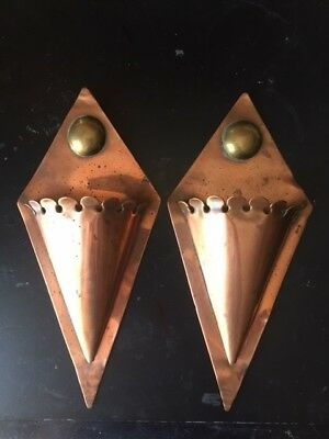 Antique Arts & Crafts Pair Of Copper Wall Pockets