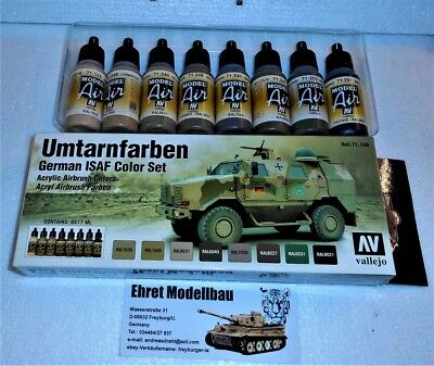 German ISAF Umtarnfarben Airbrush Color Set 8 Farben Vallejo Model Air 71159
