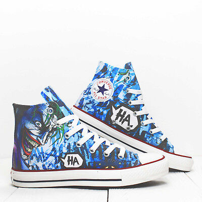 586ed344a7d4 Joker HaHa Converse All Star High top Custom Shoes Printed Comics Geek  sneakers