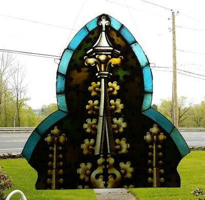 Amazing Antique Gothic Fired Leaded Stained Glass Arch, Philadelphia Area Church