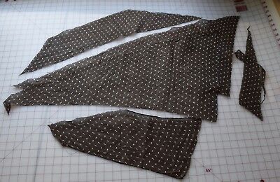 6317 Piece antique 1880-90's cotton fabric, dark brown with white pineapples