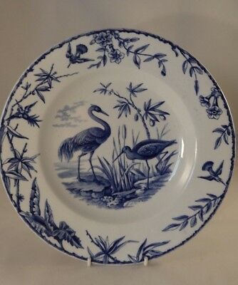 "Ridgway Sparks Blue & White Indus Exotic Birds Herons 9 1/4"" Plate c1870 VGC"
