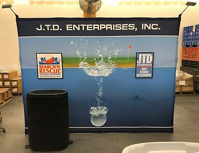 10' Pop-Up Trade Show Display, Fabric Flat Backdrop, 2 lights, podium