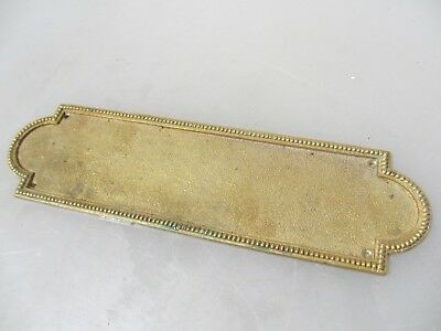 Vintage Solid Brass Finger Plate Push Door Handle French Antique Beading Old