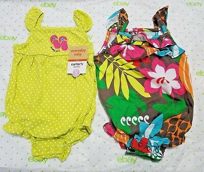 NEW NWT Girls Carters 2 Pack Piece Romper Set Size 9 Months Daddy's Girl Summer