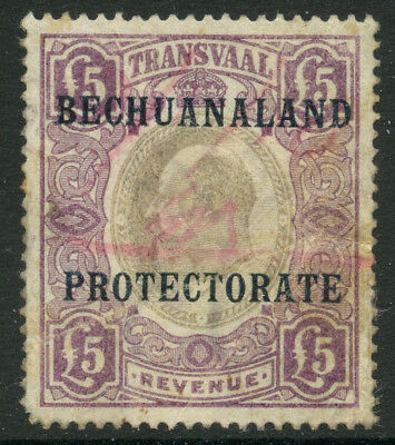 1904/10 £5 Bechuanaland Protectorate On Edvii Transvaal Revenue Fiscal Duty Tax