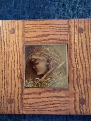 Beautiful ANTIQUE framed Arts and Crafts American Encaustic Tile PORTRAIT GIRL